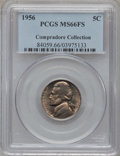 Jefferson Nickels: , 1956 5C MS66 Full Steps PCGS. Ex: Compradore Collection. PCGSPopulation (43/1). NGC Census: (28/2). (#84059)...