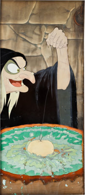 Snow White and the Seven Dwarfs Old Hag Pan Presentation Cel with Background Original Art (Disney, 1937)