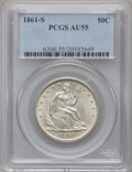 Seated Half Dollars: , 1861-S 50C AU55 PCGS. PCGS Population (6/39). NGC Census: (3/48).Mintage: 939,500. Numismedia Wsl. Price for problem free ...