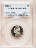 Proof Jefferson Nickels: , 1980-S 5C PR70 Deep Cameo PCGS. PCGS Population (32). NGC Census:(5). Numismedia Wsl. Price for problem free NGC/PCGS coi...