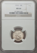 Barber Dimes: , 1910 10C MS64 NGC. NGC Census: (126/91). PCGS Population (116/99).Mintage: 11,520,551. Numismedia Wsl. Price for problem f...