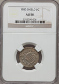 Shield Nickels: , 1883 5C AU58 NGC. NGC Census: (95/1275). PCGS Population(212/1476). Mintage: 1,456,919. Numismedia Wsl. Price for problem...