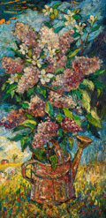 Sculpture, DAVID BURLIUK (Ukrainian/American, 1882-1967). Still Life with Lilacs in a Landscape. Oil on masonite. 28 x 14 inches (7...
