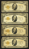 Small Size:Gold Certificates, Fr. 2400 $10 1928 Gold Certificates. Four Examples. Very Good.. ... (Total: 4 notes)