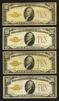 Small Size:Gold Certificates, Fr. 2400 $10 1928 Gold Certificates. Four Examples. Very Good-Fine or Better.. ... (Total: 4 notes)