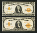 Large Size:Gold Certificates, Fr. 1173 $10 1922 Gold Certificates Two Consecutive Examples Very Fine.. ... (Total: 2 notes)