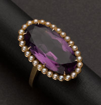 Vintage Gold, Amethyst & Pearl Ring