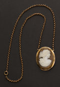 Estate Jewelry:Cameos, Gold Framed Cameo With 9k Neck Chain. ...