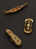 Estate Jewelry:Pendants and Lockets, Three Pendants - Hour Glass, Venetian Boat & Violin & Case.... (Total: 3 Items)