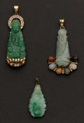 Estate Jewelry:Pendants and Lockets, Three Buddha Jade & Gold Pendants. ... (Total: 3 Items)