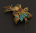 Estate Jewelry:Brooches - Pins, Antique Ruby, Sapphires, Emerald & Turquoise 18k Gold Pin. ...