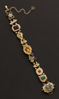 Estate Jewelry:Bracelets, Multi-Color Gem Stone Heavy 14k Gold Slide Bracelet . ...