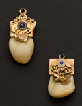 Estate Jewelry:Other , Two Gold Topped Elks Tooth Fobs. ...