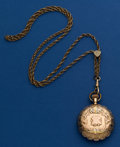 Timepieces:Pocket (post 1900), Waltham 6 Size 14k Multi-Color Gold Pocket Watch, With A Gold Filled Neck Chain. ...