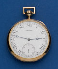 Timepieces:Pocket (post 1900), Crown NY Standard 15 Jewel 14k Gold Swing Out 12 Size Pocket Watch....