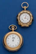 Timepieces:Pocket (post 1900), Two Pocket Watches - Waltham 14k Gold 6 Size & Swiss 32 mm 14kGold Open Face. ... (Total: 2 Items)