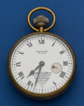 Timepieces:Pocket (post 1900), Waltham 70 mm 8-Day With A Rare Hudson Super Six Dial & Wind Indicator Port Hole Pocket Watch. ...