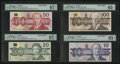 Canadian Currency: , Canadian Specimens PMG Graded.. ... (Total: 6 notes)