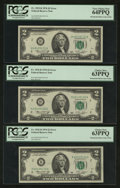 Error Notes:Mismatched Prefix Letters, Fr. 1935-B $2 1976 Federal Reserve Notes. Three ConsecutiveExamples. Examples. PCGS Very Choice New 64PPQ and Choice New63PP... (Total: 3 notes)