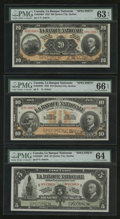 Canadian Currency: , Quebec City, QC- La Banque Nationale $5; $10; and $20 Specimens PMGGraded.. ... (Total: 3 notes)