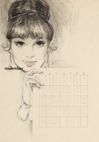 FRITZ WILLIS (American, 1907-1979) November Pin-Up Charcoal and pencil on paper 20.5 x 14.5 in