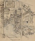 Fine Art - Work on Paper:Drawing, FROM THE ESTATE OF CHARLES MARTIGNETTE.. DEAN CORNWELL (1892-1960).Sketch of a Street Scene . Pen on paper . 11-1...