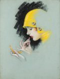 Pin-up and Glamour Art, CHARLES GATES SHELDON (American, 1889-1960). Gossip Never Hurts,Photoplay magazine cover, October 1927. Pastel on board...