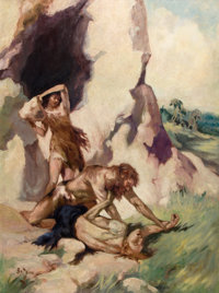 J. ALLEN ST JOHN (American, 1872-1957) The Cave Girl, book cover, 1925 Oil on board 35