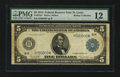 Large Size:Federal Reserve Note, Fr. 875a* $5 1914 Federal Reserve Note PMG Fine 12.. ...