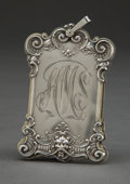 Silver Holloware, American:Desk Accessories, A KERR SILVER AND IVORY NOTE PAD . Wm. B. Kerr & Co, Newark,New Jersey, circa 1880. Marks: (fasces) STERLING, 1. 3inch...