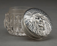 AN UNGER BROS. SMALL SILVER AND CUT GLASS INDIAN HEAD VANITY JAR Unger Bros., Newark, New Jersey, circa 1905 M