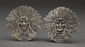 Silver Holloware, American:Other , AN UNGER BROTHERS TWO-PIECE SILVER INDIAN HEAD BELT BUCKLE . UngerBros., Newark, New Jersey, circa 1905. Marks: (UB intertw...(Total: 2 Items)