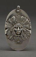 Silver Holloware, American:Desk Accessories, AN UNGER BROTHERS SILVER INDIAN HEAD AND IVORY NOTE PAD . UngerBros., Newark, New Jersey, circa 1905. Marks: (UB intertwine...
