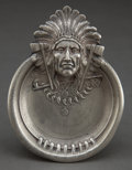Silver Holloware, American:Other , AN UNGER BROTHERS SILVER INDIAN HEAD ASHTRAY . Unger Bros., Newark,New Jersey, circa 1905. Marks: (UB intertwined), STERL...