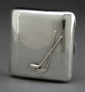 Silver Smalls:Cigarette Cases, A MATTHEW JESSUP VICTORIAN SILVER GOLFING CIGARETTE CASE . MatthewJoseph Jessup, London, England, 1896-1897. Marks: (lion p...