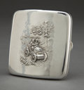 Silver Smalls:Cigarette Cases, AN AMERICAN SILVER CIGARETTE CASE . Unknown maker, American, circa1900 . Unmarked. 3-1/4 inches long (8.3 cm). 2.4 troy oun...