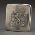 Silver Smalls:Cigarette Cases, AN UNGER BROTHERS SILVER GOLFING CIGARETTE CASE . Unger Bros.,Newark, New Jersey, circa 1900. Marks: (UB intertwined)ST...