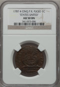 Colonials, 1787 1C Fugio Cent, STATES UNITED, 4 Cinquefoils, Pointed Rays AU50NGC. Newman 9-P, W-6755, R.4....