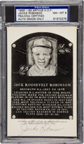 Autographs:Post Cards, 1960's Jackie Robinson Signed Black & White Plaque, PSA/DNANM-MT 8. ...