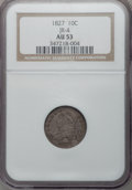 Bust Dimes: , 1827 10C AU53 NGC. JR-4. NGC Census: (3/205). PCGS Population (13/173). Mintage: 1,300,000. Numismedia Wsl. Price for prob...
