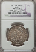 Bust Half Dollars: , 1813 50C 50C Over UNI--Improperly Cleaned--NGC Details. XF. O-101.NGC Census: (6/48). PCGS Population (14/70). Numismedi...