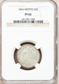 Proof Seated Quarters: , 1866 25C Motto PR62 NGC. NGC Census: (12/89). PCGS Population(27/74). Mintage: 725. Numismedia Wsl. Price for problem free...