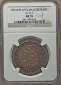 Bust Half Dollars, 1834 50C Small Date, Small Letters AU55 NGC. O-117. PCGS Population(106/235). (#6164)...