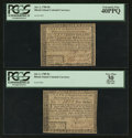 Colonial Notes:Rhode Island, Fully Signed Pair both with Serial Number 1000 Rhode Island July 2,1780 $4 PCGS Apparent Very Fine 30 and $8 PCGS Extremely F...(Total: 2 notes)