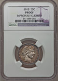 Proof Barber Quarters: , 1915 25C --Improperly Cleaned--NGC Details. Proof. NGC Census: (2/155). PCGS Population (6/147). Mintage: 450. Numismedia Ws...