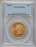 Liberty Eagles: , 1888-S $10 MS63 PCGS. PCGS Population (116/3). NGC Census: (71/6).Mintage: 648,700. Numismedia Wsl. Price for problem free...
