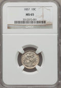 Seated Dimes: , 1857 10C MS65 NGC. NGC Census: (37/12). PCGS Population (18/2).Mintage: 5,580,000. Numismedia Wsl. Price for problem free ...