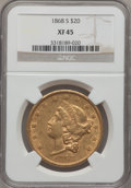 Liberty Double Eagles: , 1868-S $20 XF45 NGC. NGC Census: (250/944). PCGS Population(129/280). Mintage: 837,500. Numismedia Wsl. Price for problem ...