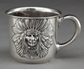 Silver Holloware, American:Cups, AN UNGER BROTHERS SILVER INDIAN HEAD MOUSTACHE MUG . Unger Bros.,Newark, New Jersey, circa 1905. Marks: (UB intertwined), ...