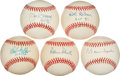 Autographs:Baseballs, Pitching Legends Single Signed Baseball Lot Of 5 Including Spahn, Roberts, Gibson, Bunning, Etc....